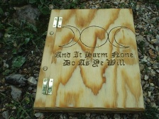 Regular sized wooded Book of Shadows with the Goddess Symbol and cree from the Wiccan Rede