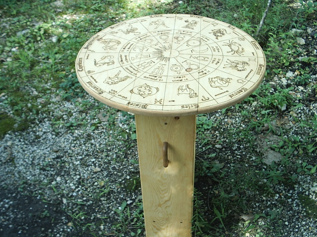 The Astrology Wheel Tarot Table is portable for easy mobility